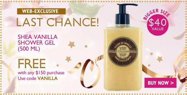 Shea Vanilla Shower Gel - yours Free with any $150 Purchase - Enter code VANILLA