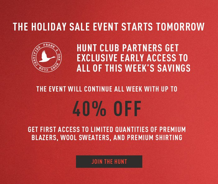 The Holiday Sale Event Starts Tomorrow