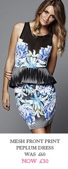 Mesh Front Print Peplum Dress