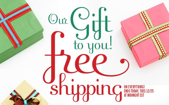 Our Gift to You! Free Shipping on everything! Ends today, Tues 12/25 at midnight EST.