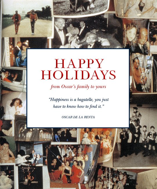 Happy Holidays. From Oscar's family to yours.