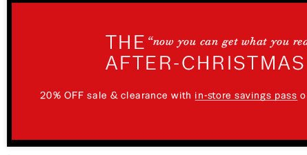 20% off sale & clearance items with In-Store Savings Pass