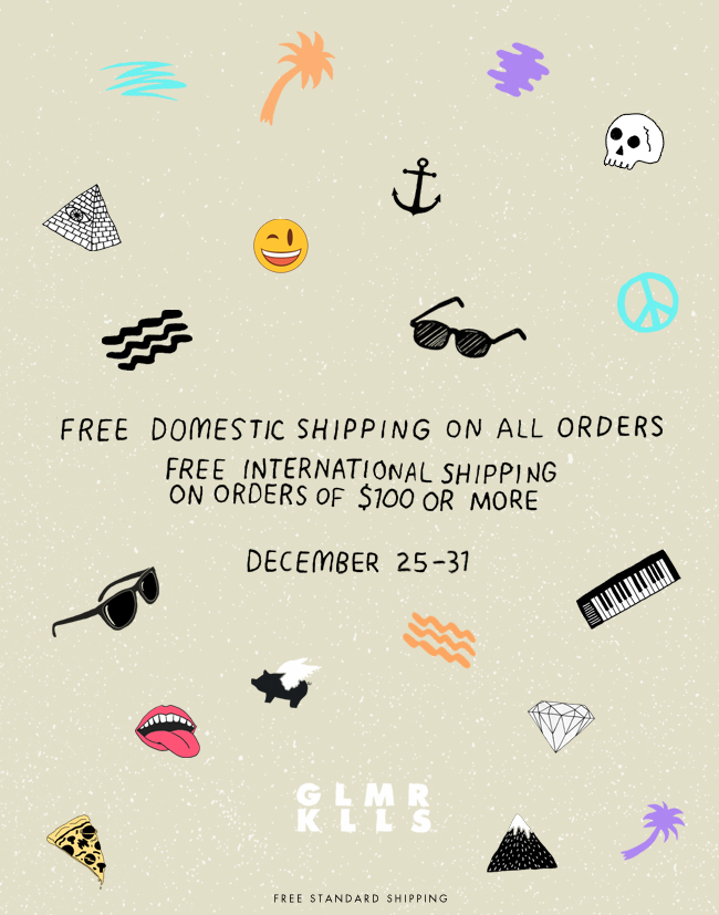 Free Domestic Shipping. Free International Shipping with purchase of $100 or more.