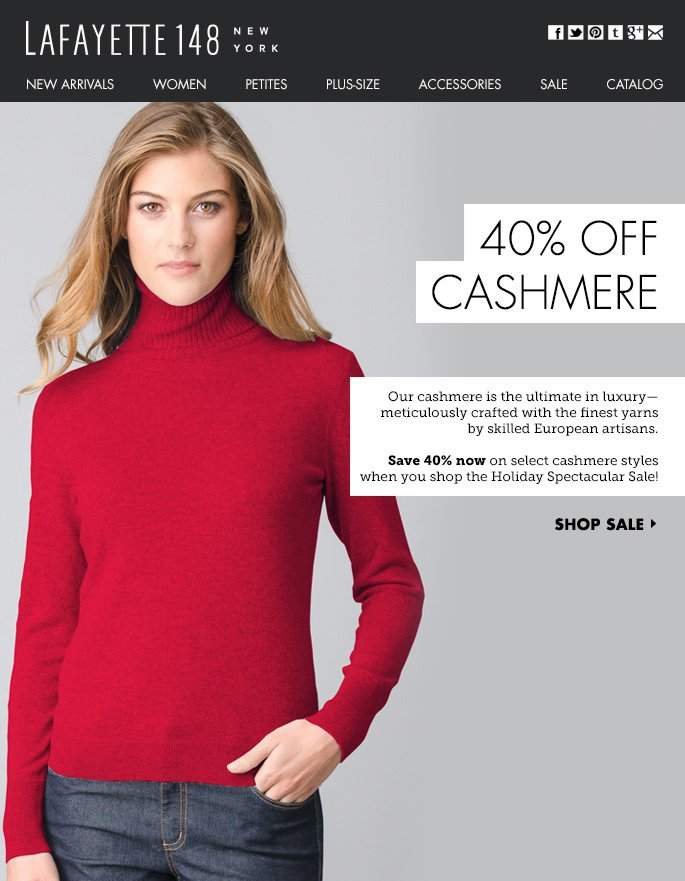 Cash in on Cashmere! 40% Off Select Styles