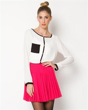 Everly Contrast Long Sleeve Blouse
