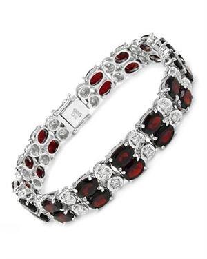 Ladies Garnet Bracelet Designed In 925 Sterling Silver $135