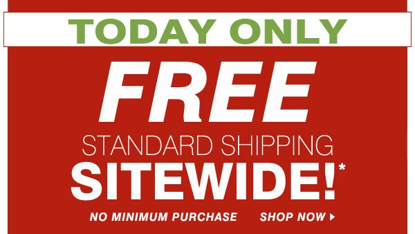 TODAY  ONLY! FREE STANDARD SHIPPING SITEWIDE!* NO MINIMUM PURCHASE. SHOP NOW.