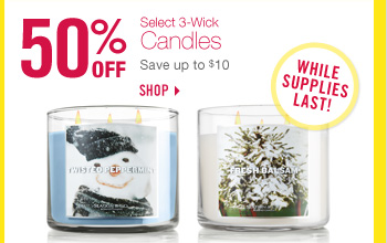 Select 3-Wick Candles - 50% Off!