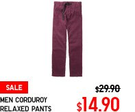 MEN CORDUROY RELAXED PANTS