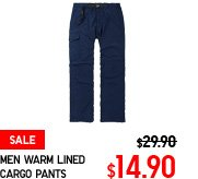 MEN WARM LINED CARGO PANTS
