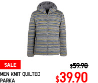 MEN KNIT QUILTED PARKA