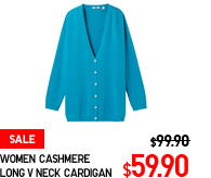 WOMEN CASHMERE LONG V NECK CARDIGAN