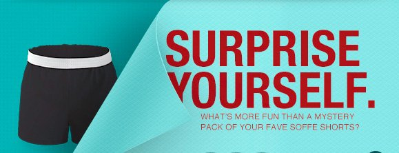 Surprise Yourself. Whats more fun than a mystery pack of your fave soffe shorts.