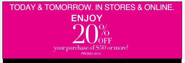 Take an EXTRA 20% off your purchase through Friday!
