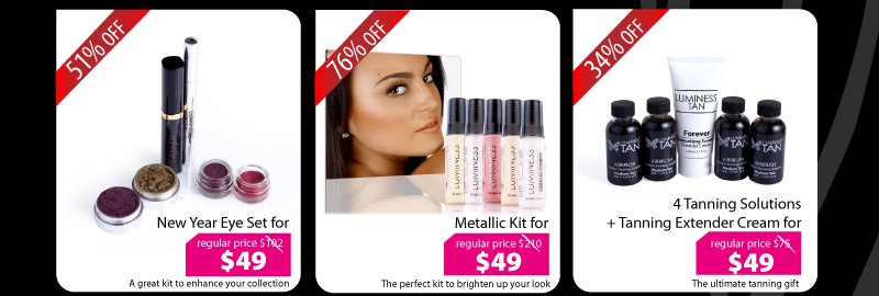 Purchase our New Year Eye Set for $49, Metallic Kit for $49, or our 4 Tanning Solutions + Tanning Extender Cream for $49.