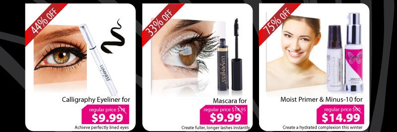 Purchase our Calligraphy Eyeliner for $9.99, Mascara for $9.99, or our Primer & Minus-10 for $14.99.