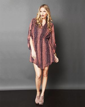 Poema 3/4 Sleeve Print Dress