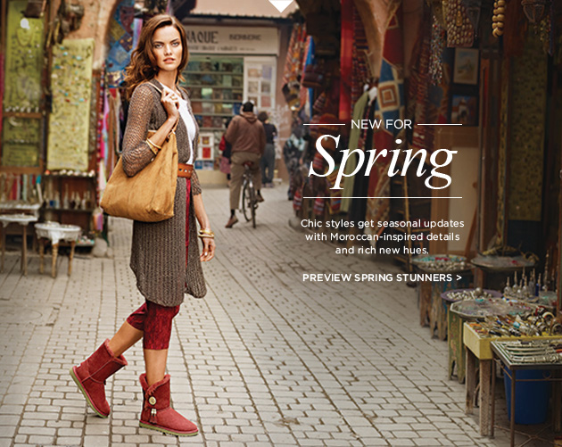 New for spring - Chic styles get seasonal updates with Moroccan-inspired details and rich new hues - Preview spring stunners