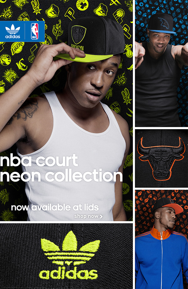 NBA court neon collection.  Now available at LIDS!