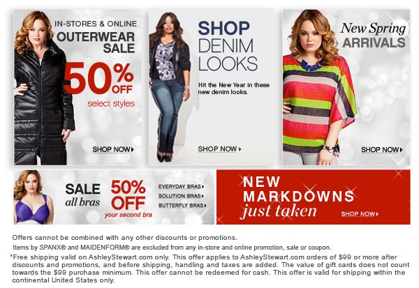 Take 50% off all Bras,  Outerwear Sale Take 50% off select styles