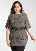 Short Sleeve Belted Cowl Neck Tunic