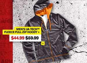 MEN'S UA TECH™ FLEECE FULL ZIP HOODY - $44.99. SHOP NOW.