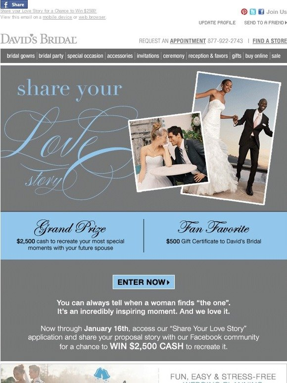 Davids Bridal Share Your Love Story For A Chance To Win 2500