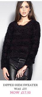 Dipped Hem Eyelash Sweater