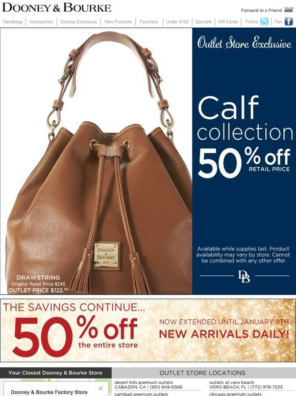 Shop Winter Clearance Sale. Dooney & Bourke. 12 Days of Dooney, Day 7 offer is valid through Monday, December 10th, at pm ET.