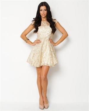 Eros Apparel Metallic Floral Dress
