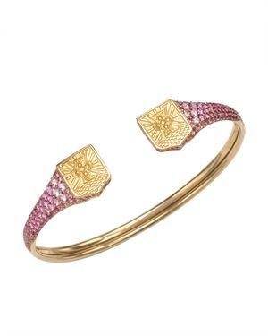 Louis Vuitton Blason 18k Gold & Pink Sapphire Bangle
