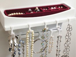 The Jewelry Rack has it all; hooks for hanging and a tray for rings and earrings, all in a space-saving, compact footprint.