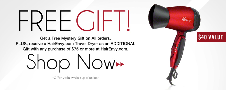 Free Gift! Get a Free Mystery Gift on All orders. PLUS, receive a Blowout Beauty Travel Hair Dryer ($40 value!) as an ADDITIONAL Gift with any purchase of $75 or more at HairEnvy.com. *Valid while supplies last Shop Now>>