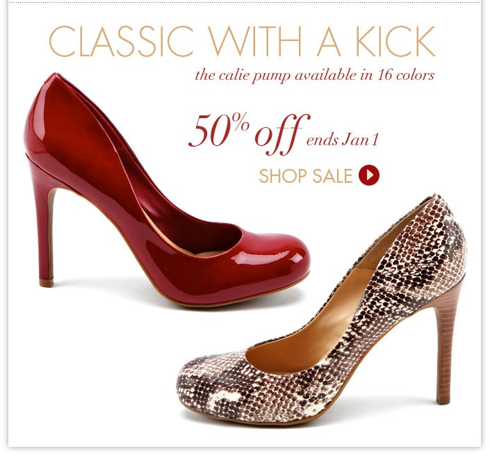 The Calie Pump available in 16 colors. 50% OFF now until January 1!