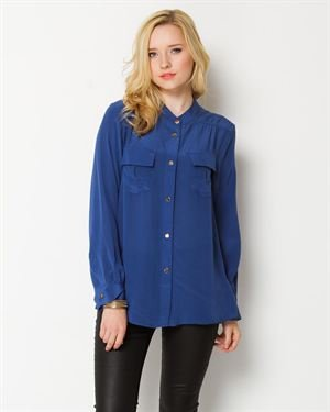 M by Marcus Silk Double Pocket Blouse