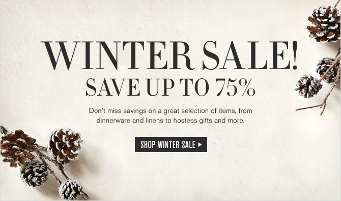 WINTER SALE! SAVE UP TO 75% -- Don't miss savings on a great selection of items, from dinnerware and linens to hostess gifts and more. SHOP WINTER SALE