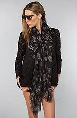 The Skull Scarf in Black and Gray