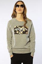 The No Love Box Floral Crewneck Sweatshirt in Heather Grey