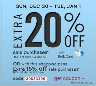 Extra 20% off Sale Purchases. Get coupon.