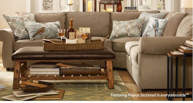 Featuring Pearce Sectional in everydaysuede™