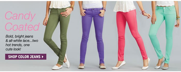 Candy Coated - Bold, bright  jeans & all-white lace