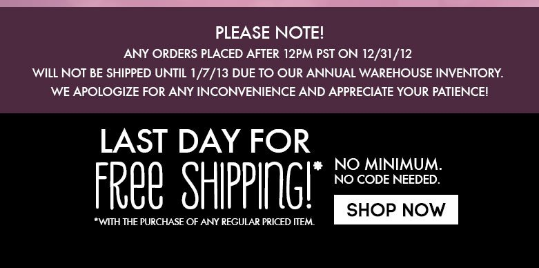 last day for special free shipping promo