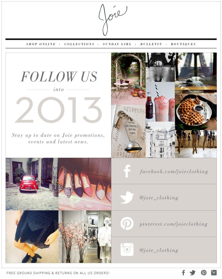 FOLLOW US Into 2013 Stay up to date on Joie promotions, events and latest news.