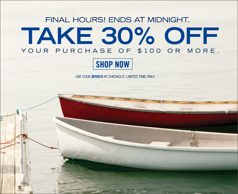 Final Hours! Ends At Midnight! 30% Off Your Entire Order Of $100 or More. Use code JOY2012 at checkout.