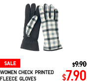 WOMEN CHECK PRINTED FLEECE GLOVES