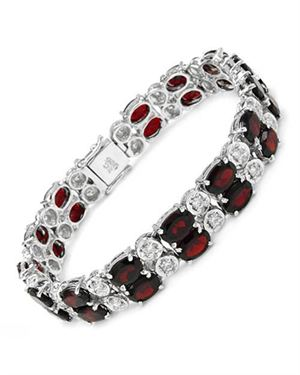 Ladies Garnet Bracelet Designed In 925 Sterling Silver $135
