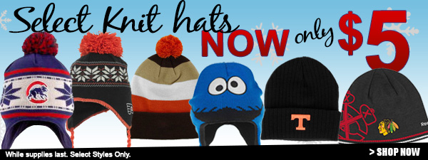 Select knit hats now only $5