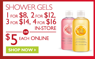 SHOWER GELS - 1 for $8, 2 for $12, 3 for $14, 4 for $16 IN-STORE - OR - $5 EACH ONLINE - Shop Now