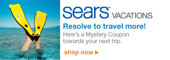 Sears VACATIONS | Resolve to travel more! | Here's a Mystery Coupon towards your next trip. | shop now