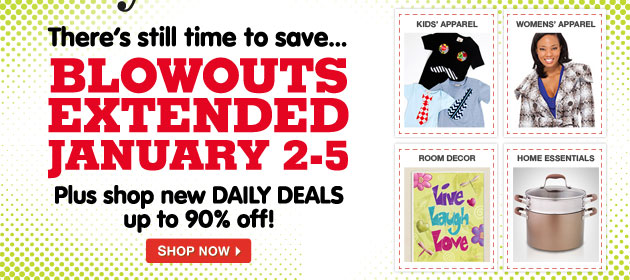 There's still time to save... BLOWOUTS EXTENDED JANNUARY 2-5. Plus shop new DAILY DEALS up to 90% off!